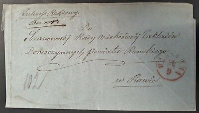 RARE Undated Poland Pre-stamp Folded Cover sent from Warsaw Government Interest