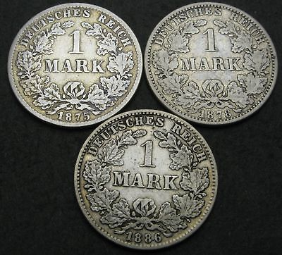 GERMANY (Empire) 1 Mark 1875/1886 - Silver - 3 Coins. - 3043