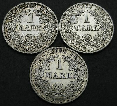 GERMANY (Empire) 1 Mark 1907/1912 - Silver - 3 Coins. - 3057