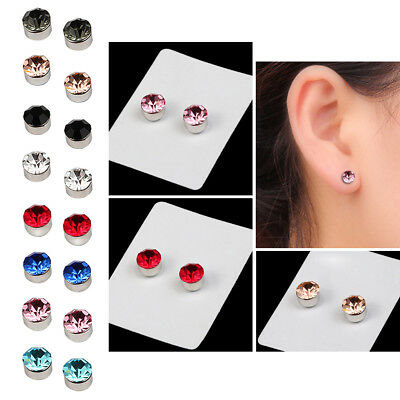 2 Pairs Unisex Magnetic Weight Loss Round Ear Stud Earrings Jewelry Crystal AU