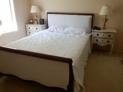French Provincial Queen size White Upholster Bed.