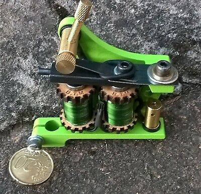Border Tattoo Machine, Liner Custom Iron Frame Custom 8 Layer 32Mm Green Coils