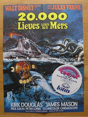 20000 LEAGUES UNDER THE SEA Kirk Douglas original french movie poster R70s