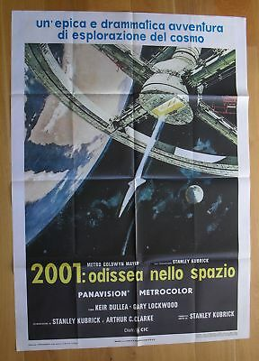 2001 A SPACE ODYSSEY sci-fi Kubrick original italian one-panel movie poster R70s