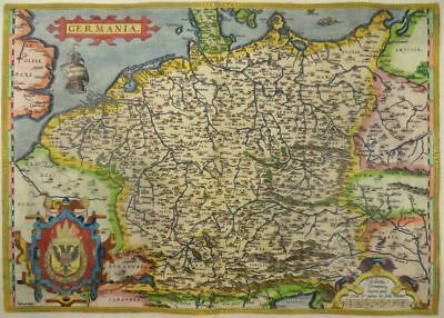 Germania Deutschland Europa Kol. Kupferstich Karte Ortelius 1570 Germany Map L02