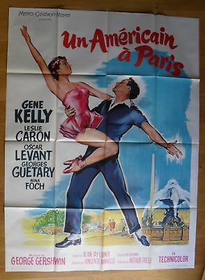 """AN AMERICAN IN PARIS Gene Kelly original french movie poster 63""""x47"""" R60s SOUBIE"""