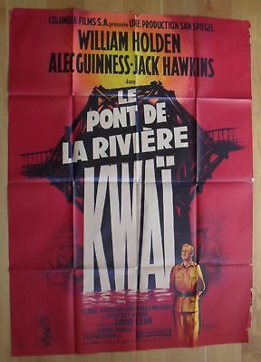 """BRIDGE ON THE RIVER KWAI holden original french movie poster 63""""x47"""" '57 litho"""