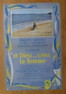 BRIGITTE BARDOT and god created woman original french movie poster '56 A