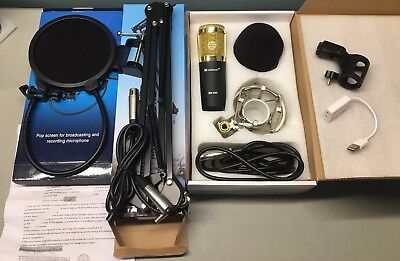 Audio Pro USB Microphone Condenser Kit Studio Recording Set w/ Stand READ/Pics