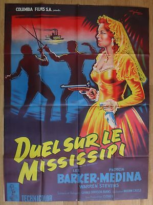 """DUEL ON THE MISSISSIPI Medina original french movie poster 63""""x47"""" R55 litho"""
