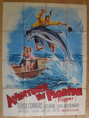 "FLIPPER Chuck Connors original french movie poster 63""x47"" '63 litho SOUBIE"