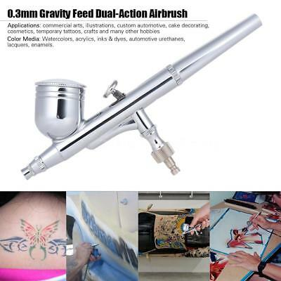 Dual Action Air Brush 0.3 mm Airbrush Spray Gun Paint Tattoo Gravity Feed C2E7