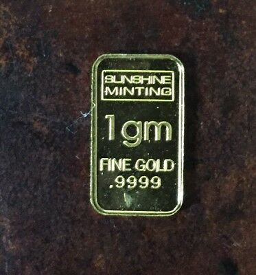 1 gram Gold Bar Sunshine Minting  .9999 Fine