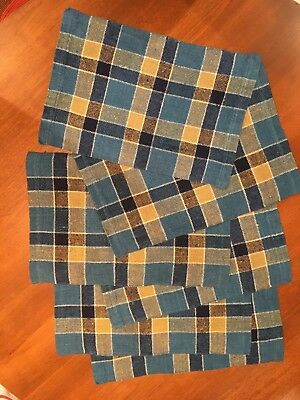 6 Mid-Century Linen Placemats by Helmi Vuorelma - Made in Finland - Blues/Tan/Wh