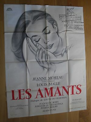"""LOUIS MALLE lovers amants Moreau original french movie poster 63""""x47"""" '59"""