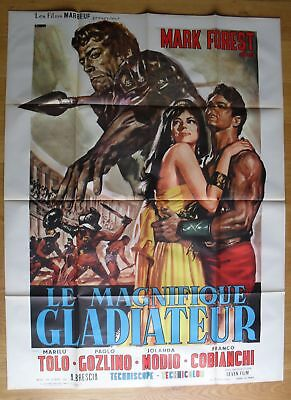 "MAGNIFICENT GLADIATOR Mark Forest peplum original french movie poster 63x47"" '66"