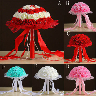 Crystal Lace Roses Bridesmaid Wedding Bouquet Bridal Artificial Silk Flowers L