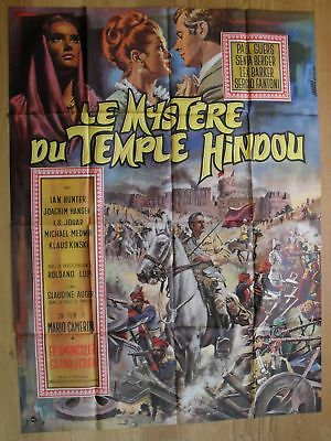 "MYSTERY OF INDIAN TEMPLE Berger original french movie poster 63""x47"" '64 MASCII"
