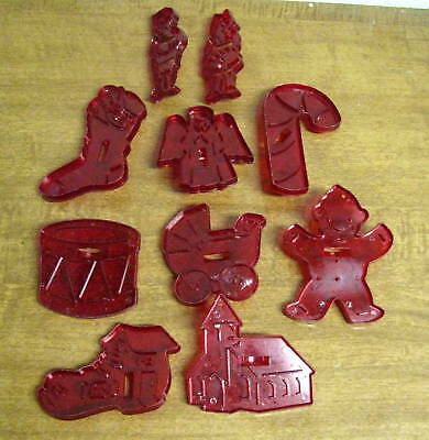 10 Vintage HRM Red Translucent Plastic Cookie Cutters Made USA