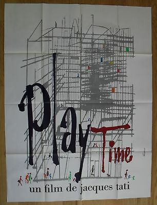 "PLAYTIME Jacques Tati original french movie poster 63""x47"" '67"