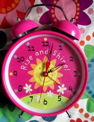 Very Large 21 Cm Diameter Face Loud Alarm Clock Suit Girls Bedroom Pink