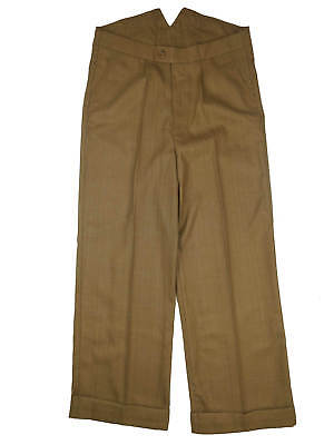 Revival Vintage 1940s Style Fishtail Back Mens Trousers 100% Wool Light Copper