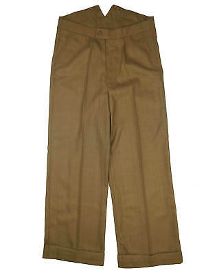 Revival Vintage 1940s Style Fishtail Back Trousers 100% Wool in Light Copper