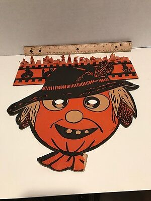 Vintage Halloween Scarcrow Die Cut Face Mask With Crown