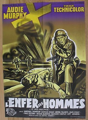 TO HELL AND BACK Audie Murphy WW2 original french movie poster '56 litho