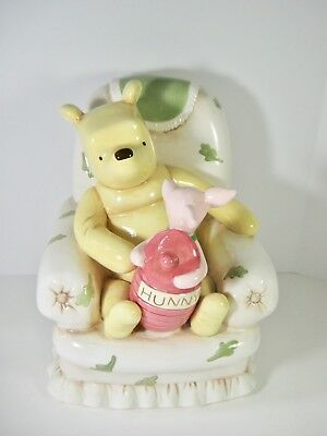 Disney Winnie the Pooh and Piglet In ArmChair With Hunny Ceramic Bank