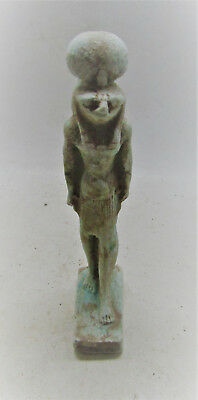 Scarce Ancient Egyptian Faience Statuette Of Sehkmet Beautiful Piece