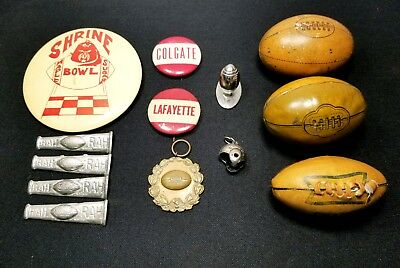 Lot of 12 1920's-1940s VTG Football Pins Charms Antique Pinback Ribbon Container