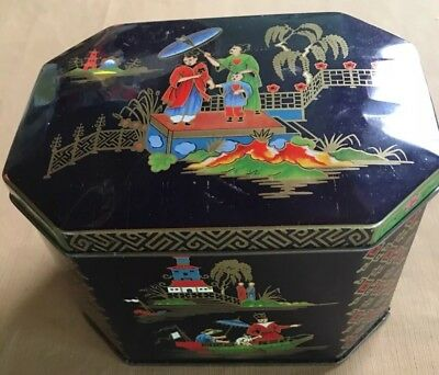 Asian Motif Tin Lacquered Look Cutaway Corners Hinged Lid Designed By DAHER