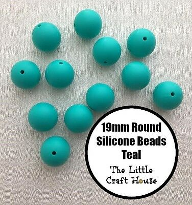 12 x 19mm Silicone Beads Round Teal Bead Necklace Sensory (was teething) 20mm