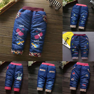 Infant Kid Girl Dragonfly Floral Velvet  Jeans Winter Thick Warm Trousers Pant