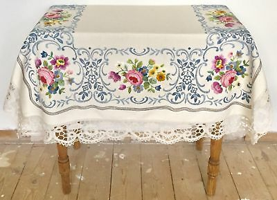 Vintage Stunning Heavily Embroidered Linen Table Cloth with Lace Trim