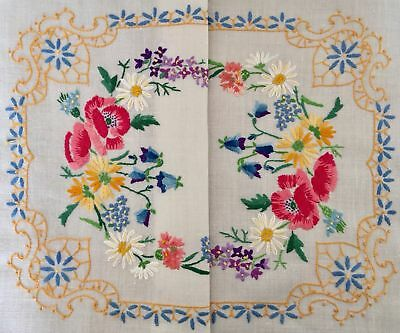 Vintage Stunning Heavily Hand Embroidered Linen Tray Cloth