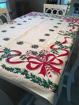 """Vintage Christmas Tablecloth Candy Canes and Bows So Cute 57"""" X 49"""" Bright color"""