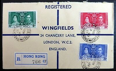 HONG KONG 1937 Coronation (3) on Registered FDC Opened at Top BE24