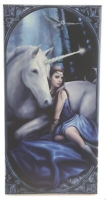 Anne Stokes BLUE MOON UNICORN Designer Decorative Art Tile Fantasy Mythical