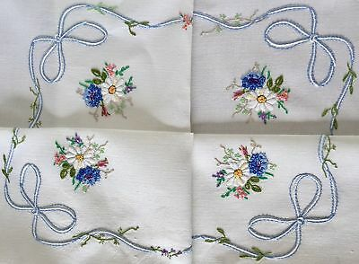 Vintage Hand Embroidered Pretty Linen Table Cloth Blue & White Bows