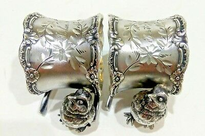2 Antique Victorian Silver Plated Wishbone &  Chick Bird Napkin Rings Bert Helen