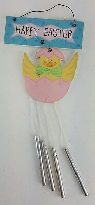 "Easter Chick Wind Chime Happy Easter Sign Door Wall Hanger 12"" Tall"