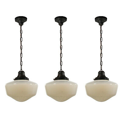 Antique Schoolhouse Pendant Lights With Original Shades, 2 Available, NC3226