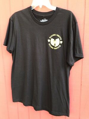 New Marvel Black Panther Wakanda Forever Wu-Tang Logo Black Shirt Size Large 3c67102f4906