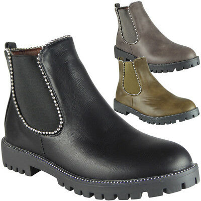 Womens Ladies Ankle Boots Winter Zip Low Heel Chelsea Bling Casual Shoes Size