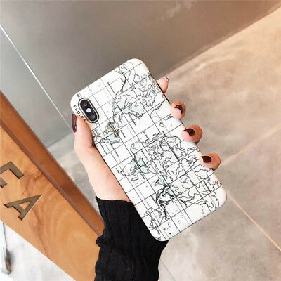 Fashion World Map Cute Cool Soft Back Case For iPhone X XR XS Max 6 6s 7 8 Plus