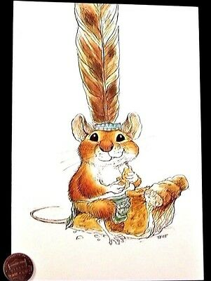 VTG Thanksgiving Mouse Feather Pumpkin Pie - WALLACE TRIPP Greeting Card UNUSED