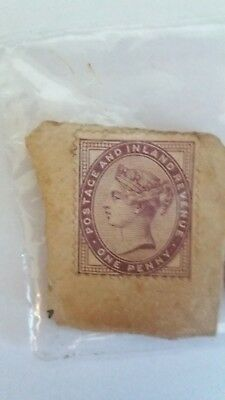 One Penny Lilac Postage And Inland Revenue Stamps X2