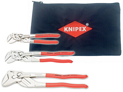 """KNIPEX 002006US2-KIT 3-Pc  Pliers Wrench Set - 7"""", 10"""", 12"""" with Keeper Pouch"""